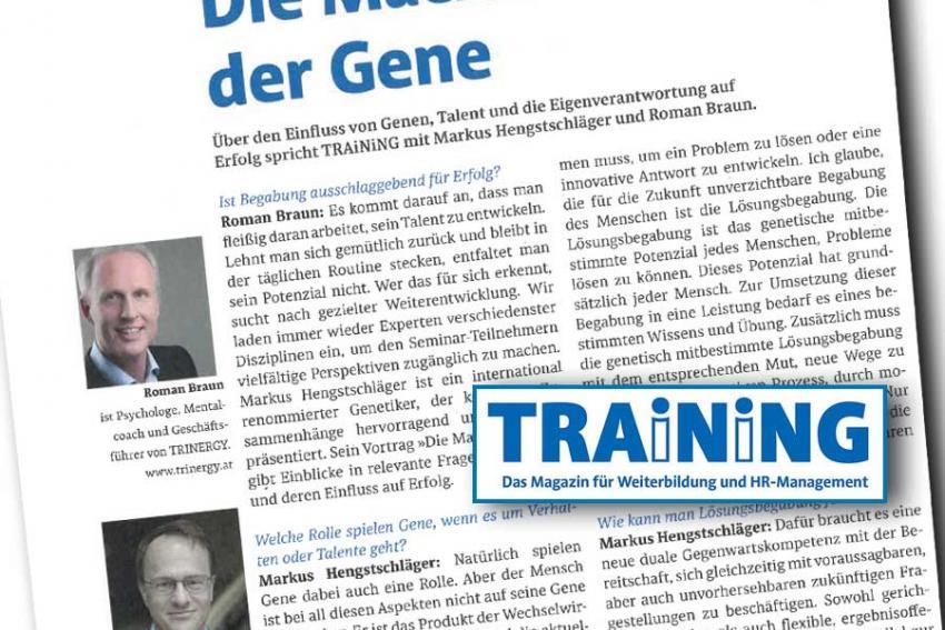 "Dr. Roman Braun im Magazin ""TRAINING"" 10/2020"