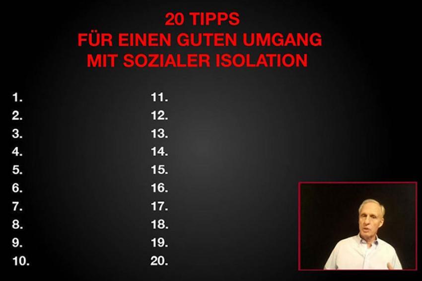 Dr. Roman Braun mit 20 Tipps für einen guten Umgang mit sozialer Isolation