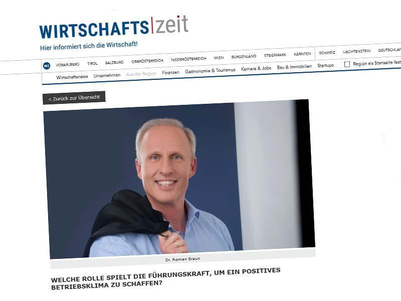 """Dr. Roman Braun in der  """"WIRTSCHAFTSZEIT"""" 06/2018"""