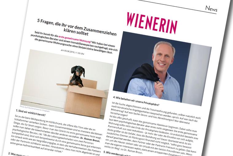 """Dr. Roman Braun in der """"Wienerin"""" 08/2019"""