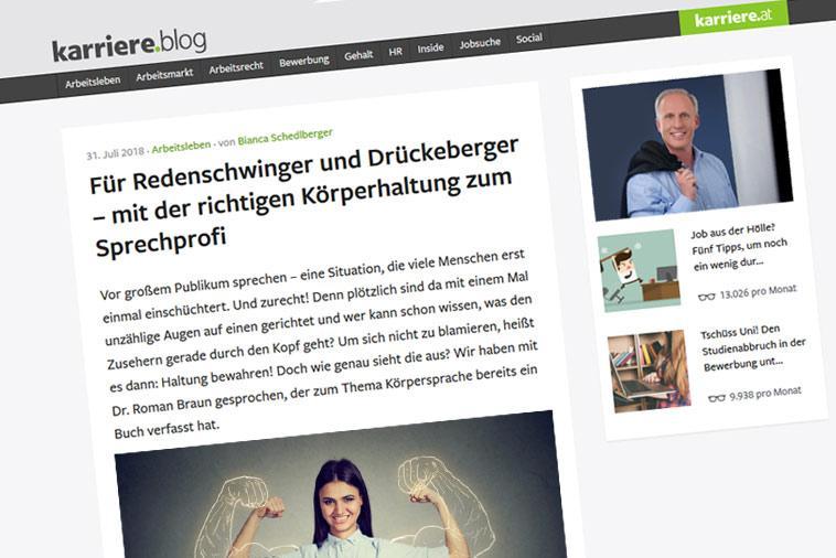 """Dr. Roman Braun im der  """"Karriere Blog"""" 07/2018"""