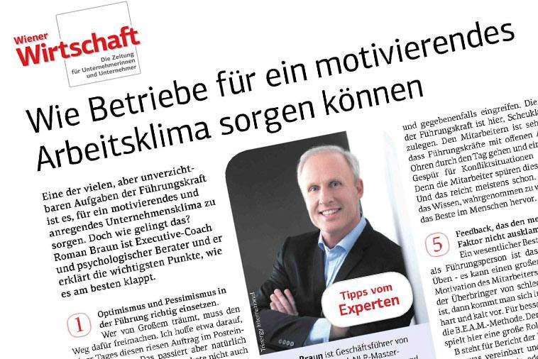 """Dr. Roman Braun in der """"WIENER WIRTSCHAFT"""" 08/2018"""
