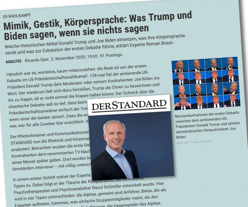 """Dr. Roman Braun in  """"DER STANDARD"""" 11/2020"""
