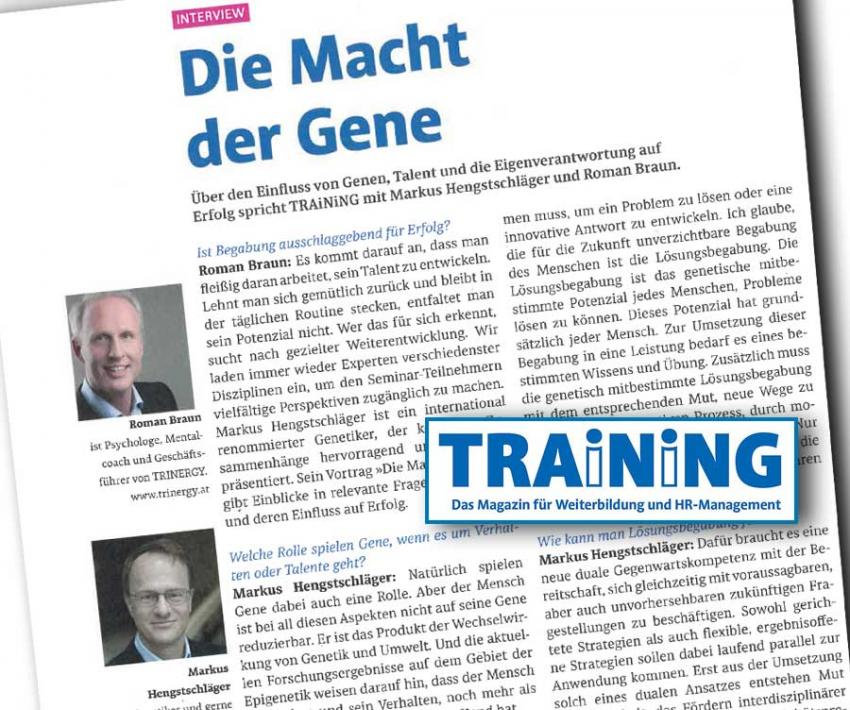 "Dr. Roman Braun im Magazin ""TRAINING"" 10/2020"