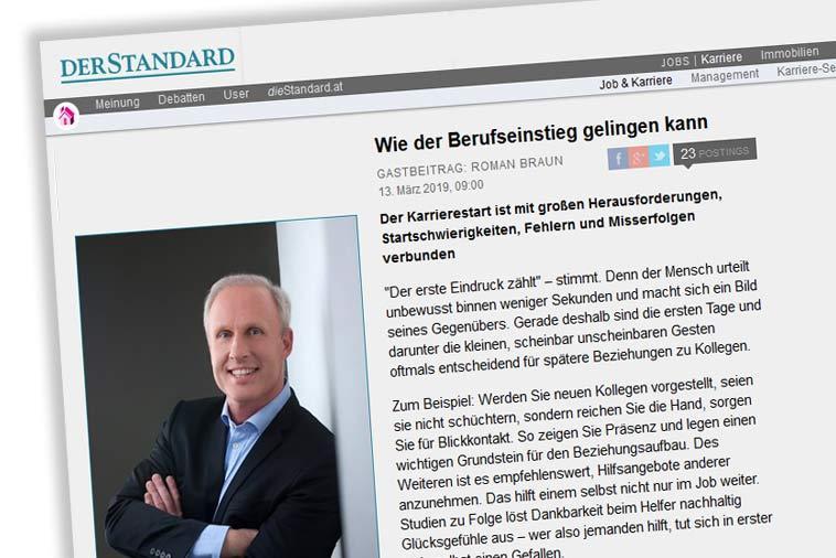 """Dr. Roman Braun im """"Der Standard.at / Karriere"""" 03/2019"""