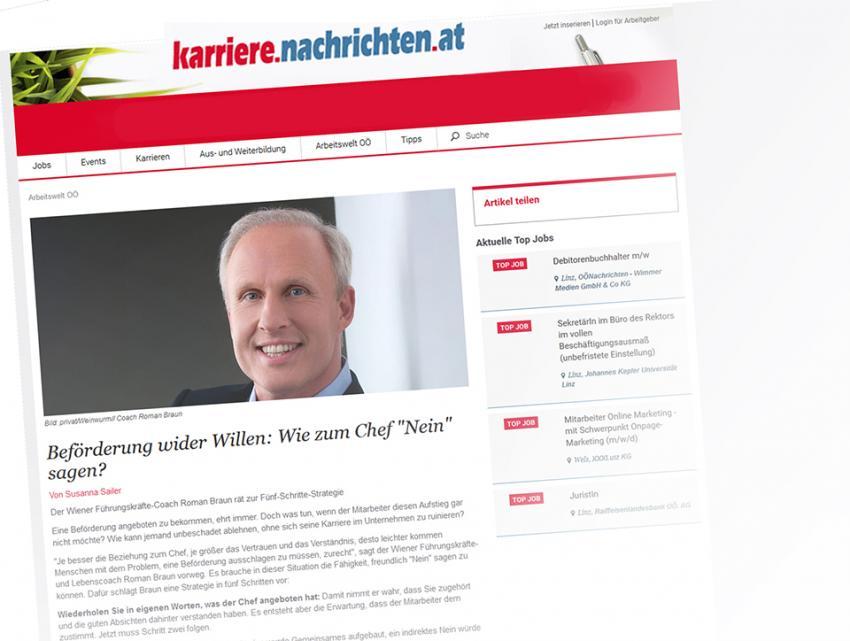 """Dr. Roman Braun in den """"Karriere Nachrichten"""" 08/2019"""