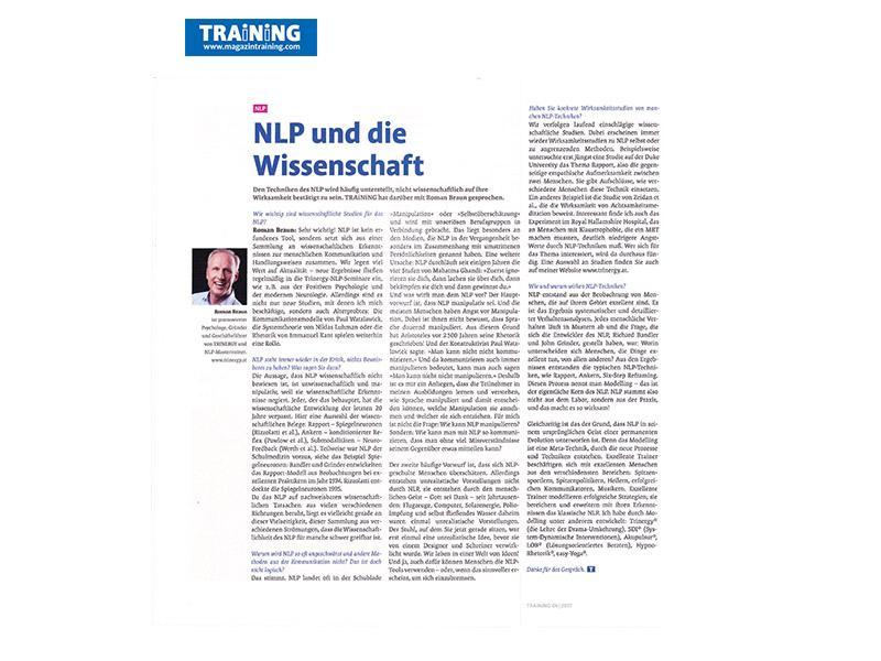Dr. Roman Braun im Magazin Training...